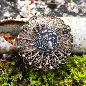Vintage Jewelry - Vintage 800 silver filigree Roman coin brooch